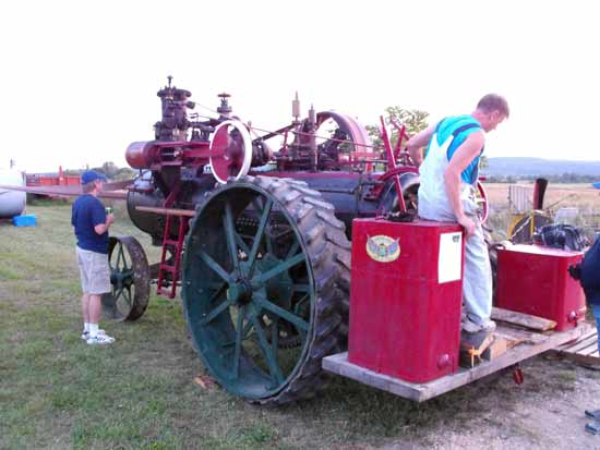 steam tractor rear view