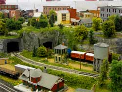 HO scale town view