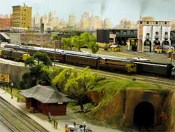 HO scale trains in city