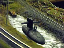 HO scale submarine in pond