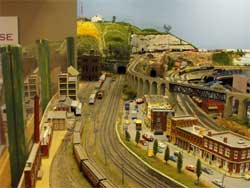 N scale city and mainline