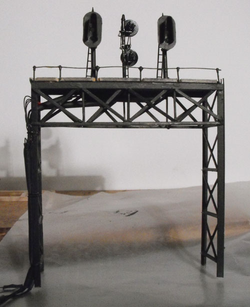2-track HO brass signal bridge