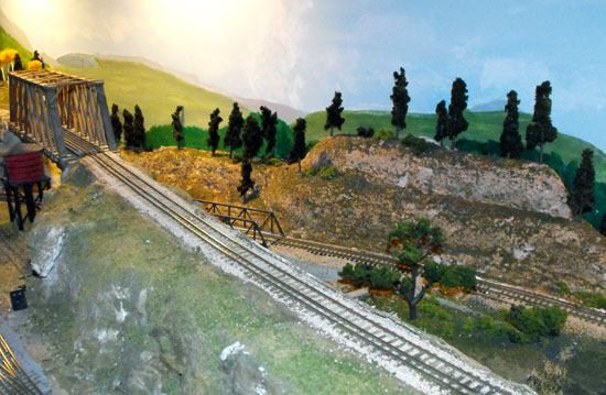 model railroad trees scene