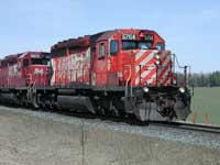 closeup of CP and affiliated locomotives consist