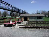 railroad handcars and shed