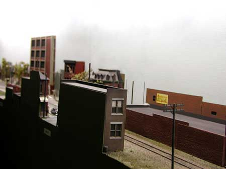 model railroad narrow building foreground scenery