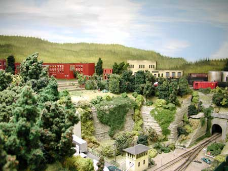 scale model of factory on hill