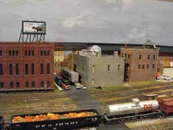 model railroad yard scene