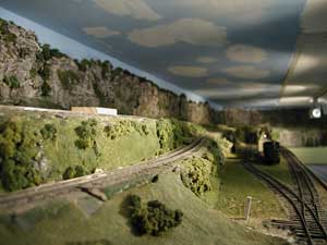 model railroad ceiling clouds backdrop