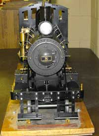 front of live steam locomotive Dominion Coal 8.
