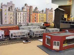 model railroad city background