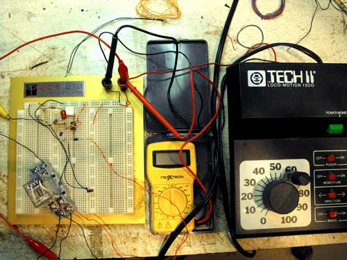 model train detector test setup