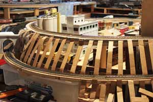 model train cardboard scenery support