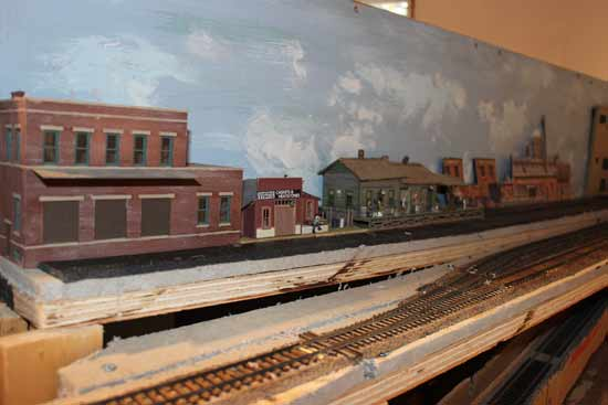 model railroad siding and backdrop