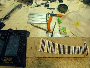 gluing ties for hand-laid turnouts