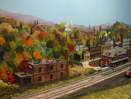 model railroad painted autumn foliage backdrop