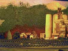 model railway backdrop photo on painted wall