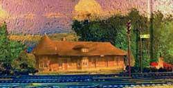 model railroad backdrop photo and paint