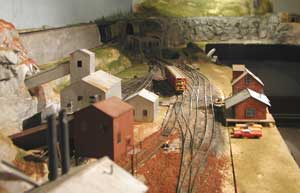 red ballast on model track