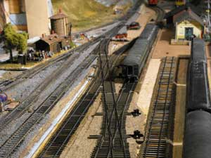 model railroad hand-laid yard tracks